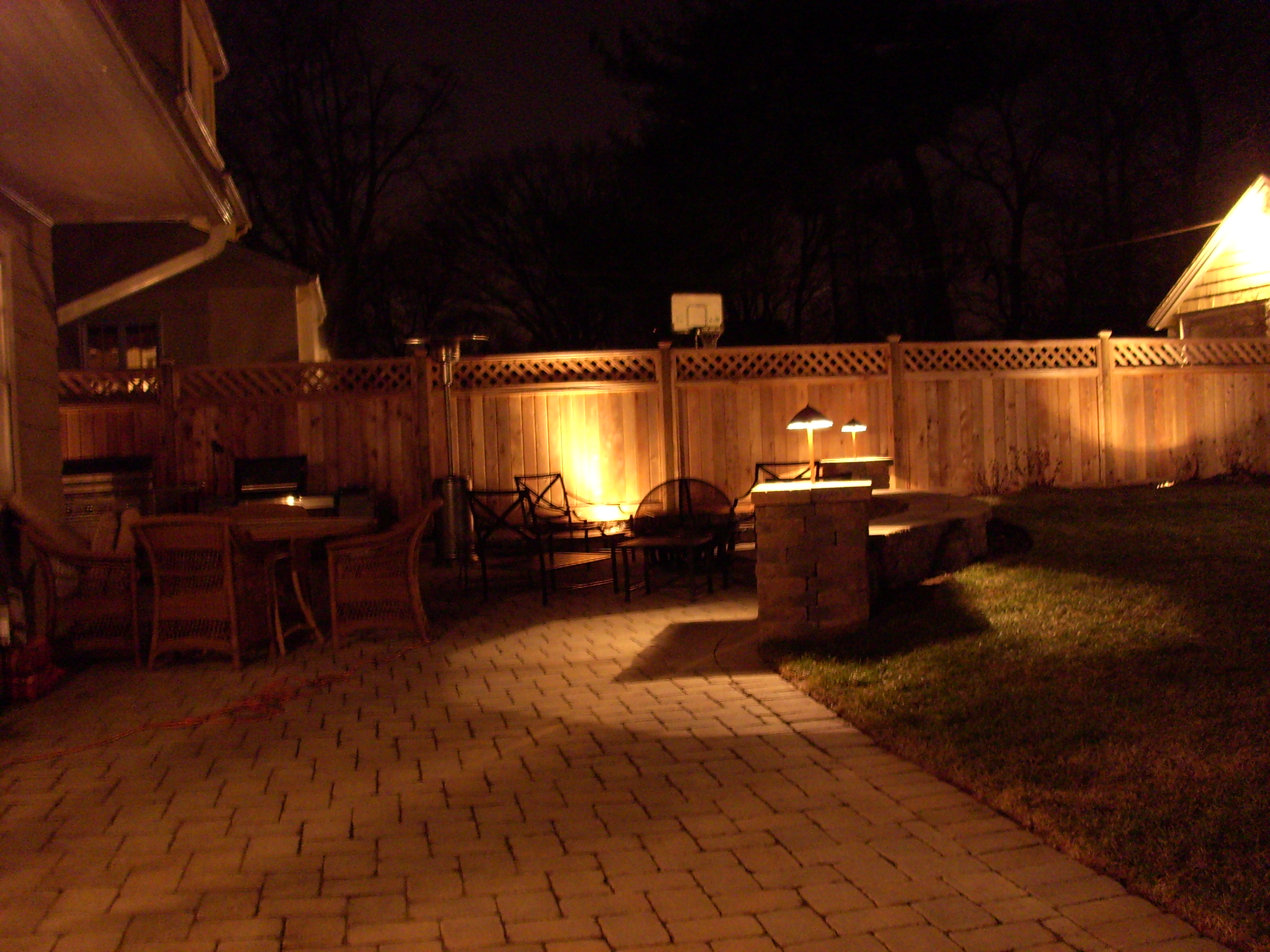 Backyard Lights On Fence : this beautiful patio and privacy fence The landscaping and lighting